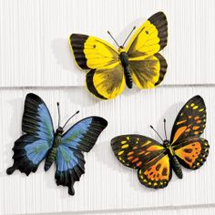 """NEW ~ Set of 3 Garden Wall Butterfly Plaques Outdoor Decor 8 1/2""""W x 6 1/4""""H"""