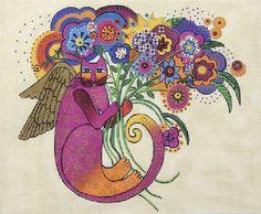 Laurel Burch Cat Angel w/ Bouquet handpainted Needlepoint Canvas Danji Designs