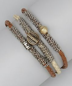 Take a look at this Silver & Brown Leather Chain Bracelet Set by Berry Jewelry on #zulily today!