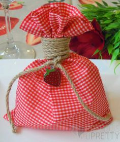 Red plaid favor bags for girl's christening with a beautiful strawberry embellishment! Christening Favors, Baptism Favors, Girl Christening, Baby Shower Favors, Baby Shower Gifts, Candy Party Favors, Candy Bags, Favor Bags, Red Plaid