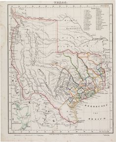 """Carl Flemming. Texas. Glogau [Poland]: C. Flemming, circa 1845. Measuring 13.75"""" x 17"""", this scarce German lithographic map of Texas, based on Arrowsmith's 1841 map, features thirty counties, outlined in color and listed in a table in the upper right corner. An inset at lower left shows a plan of Galveston Bay."""