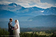 Wedding couple from the Stanley Hotel went up into Rocky Mountain National Park for pictures.