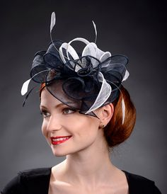 Navy blue and White fascinator hat for weddings by MargeIilane