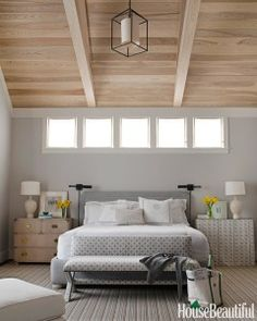 benjamin moore gray owl is the best gray paint colour with blue green undertones. Shown in Master bedroom. Color trends 2016