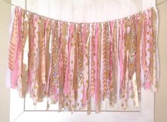 Hey, I found this really awesome Etsy listing at https://www.etsy.com/listing/195518561/fabric-scrap-banner-gold-pink-and-white