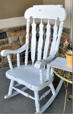 I have this rocking chair – hmmm… maybe I should paint it white? 🙂 ikea rocking chair au Gone are the days when decorating was a one partic. White Wooden Rocking Chair, Painted Rocking Chairs, Rocking Chair Makeover, Wooden Rocking Chairs, Rocking Chair Cushions, Wooden Chairs, Fur Chairs, Camp Chairs, Dining Chairs