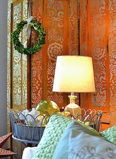 Stenciled Rust Patina Folding Screen | How to Stencil and How to Rust | DIY Tutorial on the Modern Masters Cafe Blog