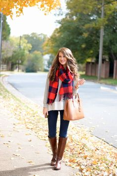 Oversized Plaid Scarf + Dark Jeans + Oversized Sweater + Brown Tote