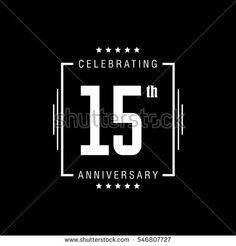 15th anniversary logo, vector celebration design with rectangle on black background.