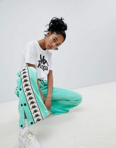 Buy Kappa Popper Tracksuit Pant With Logo Taping at ASOS. Get the latest trends with ASOS now. Uni Outfits, Cute Swag Outfits, Cute Comfy Outfits, Dance Outfits, Outfits For Teens, Kappa Tracksuit, Tracksuit Pants, Sweatpants, Adidas Outfit