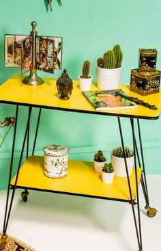 Yellow formica table.