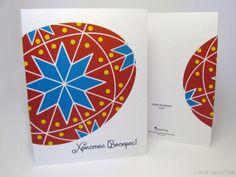Ukrainian Easter Card 5.5 x 4.25  Red Pysanka by PtashkaArts, $4.50