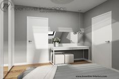 Projekt sypialni Inventive Interiors - biała toaletka w szarej sypialni