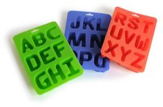 alphabet letter ice/baking trays. could also use to make personalized crayons for party favors...