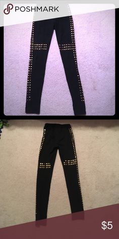 Black Gold Studded Edgy Leggings Small Rue 21 Black Gold Studded Edgy Leggings Small Rue 21 Rue 21 Pants Leggings
