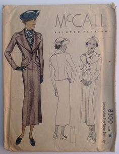 McCall 8300 Jr Miss 2pc Fitted Suit Wing Tip Blazer 1935 Sz18 (Jr Miss)/36 cut/Complete/Printed Env Good edge wear, tearing, creasing, discoloration sld 43+2 7bds 4/29/15