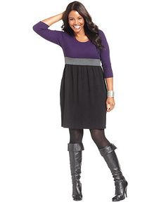 AGB Plus Size Dress, Three-Quarter-Sleeve Colorblocked Sweater - Plus Size Sweaters - Plus Sizes - Macy's
