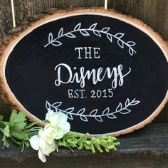 Tree slice Family name chalkboard sign by SarahDisneyDesigns