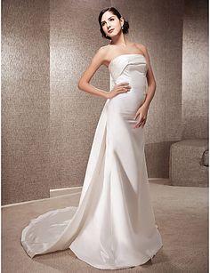 Trumpet/Mermaid Strapless Court Train Satin Wedding Dress - USD $ 249.99