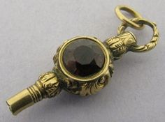 Ornate Vintage Antique Victorian Gold 2 Gem Set Watch Fob Key Charm N/ ...