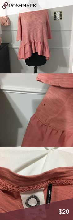Anthropologie • Cascade Peplum Shirt Anthropologie • Cascade Peplum Shirt. Salmon colored. I love the ruffle detail this peplum gives. All cotton. Made in Indonesia. Very soft & comfy. Tiny hole, pictured in second photo. Price reflects. So easy to style! Needs a good home. 💖 Worn Once. Size XS, can fits loose/big. I'm a M and it fits me great Anthropologie Tops Blouses