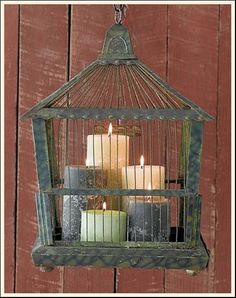 Vintage Bird cage with pillar candles