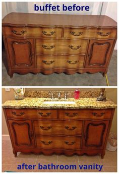New repurposed furniture buffet bathroom vanities ideas Dresser Vanity Bathroom, Rustic Bathroom Vanities, Ikea Bathroom, Master Bathrooms, Bathroom Cabinets, Small Bathroom, Modern Bathroom, Bathroom Ideas, Shiplap Bathroom