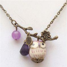Antiqued Brass Branch Jade Quartz  Porcelain Owl Necklace.