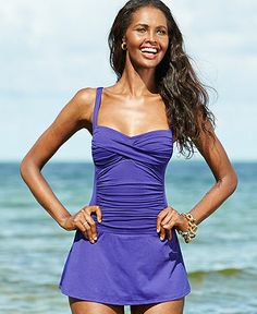 La Blanca Twist-Front Ruched Swimdress - Swimwear - Women - Macy's