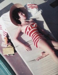 Austrian actress Mara Lane in a Jantzen swimsuit at the Sands Hotel, Las Vegas, NV. Photographed by Slim Aarons, 1954.