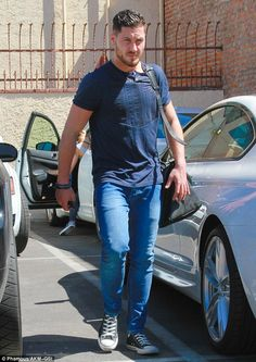 Someone's awfully serious: Val Chmerkovskiy was all business as he strolled to practice in...