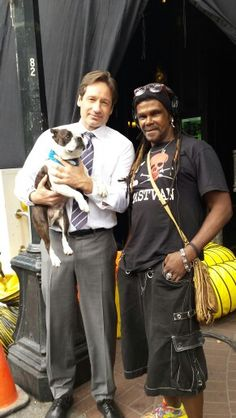"""On set of the X-Files with  David  Duchovny and  Sparrow the """" AwesomeBoston """""""