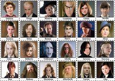 Kaarten voor het Wie-is-het-spel met afbeeldingen van Disney-figuren, uit Harry Potter, bekende Fransen of Franstalige personen,