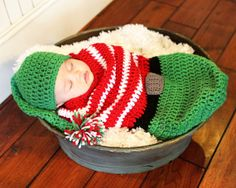 Christmas Elf Cocoon Costume for Newborn 3 and 6 by mymadymichelle, $40.00