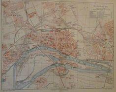 1896 MAGDEBURG DEUTSCHLAND alte Landkarte Karte Antique Map Lithographie
