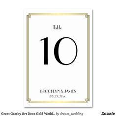 Great Gatsby Art Deco Gold Wedding Table Numbers Table Card