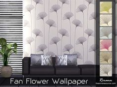 Fan Flower Wallpaper in 6 color variations. Found in TSR Category 'Sims 4 Walls'