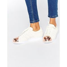 adidas Originals Superstar 80s Rose Gold Metal Toe Cap Sneakers (€120) ❤ liked on Polyvore featuring shoes, sneakers, off white, off white shoes, adidas sneakers, adidas, 80s fashion and adidas trainers