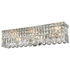 Glam Art Deco Style 6-light Chrome Finish Crystal Strand Wall Vanity Light