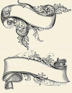 Designed by a hand engraver. Highly detailed engraving design of a… Ribbon and Scroll Royalty Free Stock Vector Art Illustration diseños de tatuajes Scroll Tattoos, Kunst Tattoos, Tattoo Drawings, Art Drawings, Tattoo Art, Lettering Tattoo, Drawing Designs, Diy Tattoo, Molduras Vintage