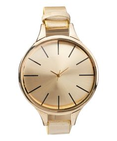 Look at this Gold Faux Leather-Strap Watch on #zulily today!