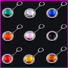 LOT 9PCS Folding Handbag Purse Hook Hanger with keyring . $15.95. 100% New and High Quality.  Great beautiful and convenient to carry. It's used to hang your handbag from a table or bar when you are in Cafe, Restaurant, Bars , Lady's restroom and any others places, so that your handbag needn't to be layed on the ground or on the dirty floor.  The best gift for Mothers Day, Weddings, Wedding Guest Gifts , Birthdays, Christmas, and any purse owner.