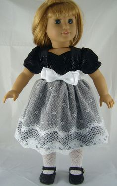 Black Sequin & White Lace Hem Dress for American Girl Doll Clothes BEAUTIFUL!