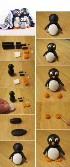 Drawing Hairstyles 135389532537596134 - FIMO DOUBLE PENGUEN – Women – Women DIY – Hairstyles – The idea of ​​making Fimo a cute penguin was an idea that I really liked. After me he The Effec – Source by eleinesiffointe Fondant Figures, Clay Figures, Polymer Clay Miniatures, Polymer Clay Projects, Penguin Cakes, Kids Clay, Fondant Animals, Baking Clay, Polymer Clay Christmas