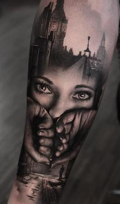 Beautiful Surrealist Double-Exposure Tattoos Mash Up People, Architecture & Nature - jaw-dropping double exposure tattoo © tattoo artist Thomas Carli Jarlier 💕💕💕💕💕 - 3d Tattoos, Best Sleeve Tattoos, Badass Tattoos, Tattoo Sleeve Designs, Great Tattoos, Forearm Tattoos, Black Tattoos, Body Art Tattoos, Tattoos For Guys