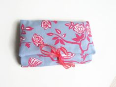 Ladies Gift Idea Make Up Bag in Pale Blue and Bright by olganna, £16.00  Pinned with <3 by Yoga Philosophy