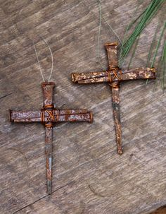 Antique Style Nail Cross Ornament Amazing Accent by NevaStarr