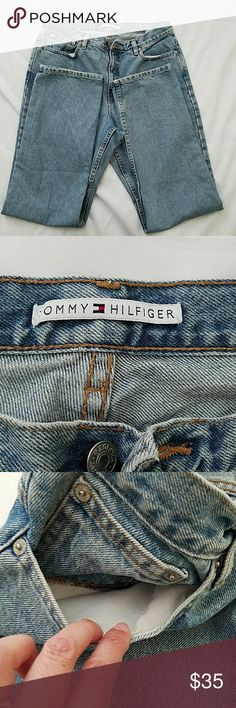 Vintage Tommy Hilfiger Jeans Size 14 inseam 33 Vintage Tommy Hilfiger Jeans Size 14  waist measure 34 along top 33 inch inseam Tommy label on back is faded but otherwise good cobdition Tommy Hilfiger Jeans Straight Leg