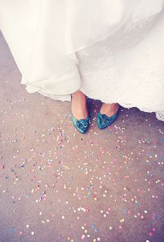Lucia wore a La Sposa gown from The Wedding Day Bridal Salon and teal Jeffrey Campbell shoes. Photo: Christine Farah