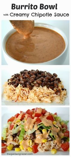 Burrito Bowl with Creamy Chipotle Sauce So easy and delicious! Great family meal as everyone can customize their own bowls! Bean and veggie burrito bowl with creamy chipotle sauce (vegan, gluten-free) - Delicious Vegan Recipes Veggie Recipes, Mexican Food Recipes, Cooking Recipes, Sauce Recipes, Mexican Dishes, Cookbook Recipes, Cheap Veggie Meals, Cheap Vegetarian Meals, Chicken Recipes
